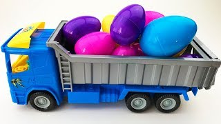 Truck unloads colored eggs truck with eggs Video for children Surprise Eggs Video for children