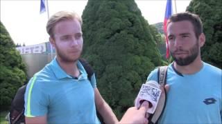 Filip Doležel a Václav Šafránek po semifinále deblu na turnaji Futures v Ústí n. O.