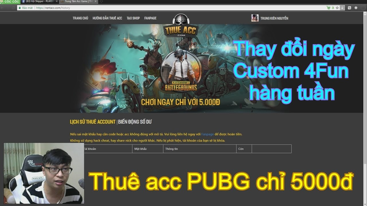 Thuê Acc PUBG chỉ 5000đ ! - Giải Custom Hàng Tuần !