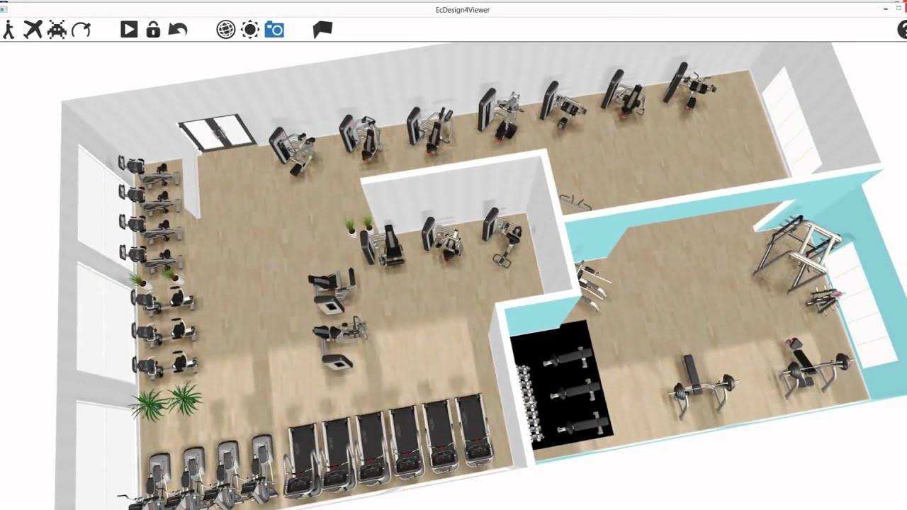 Ecdesign 3d gym design software youtube for Software for planning room layouts