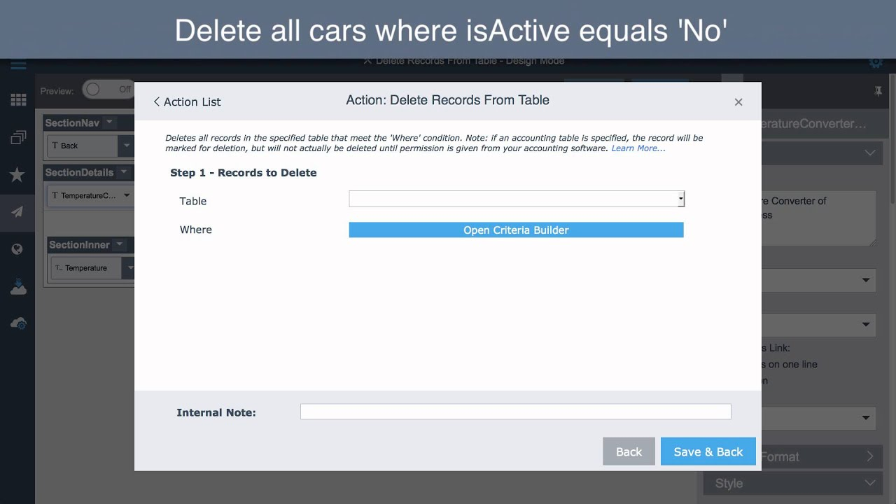 Method Crm Action Delete Records From Table Youtube