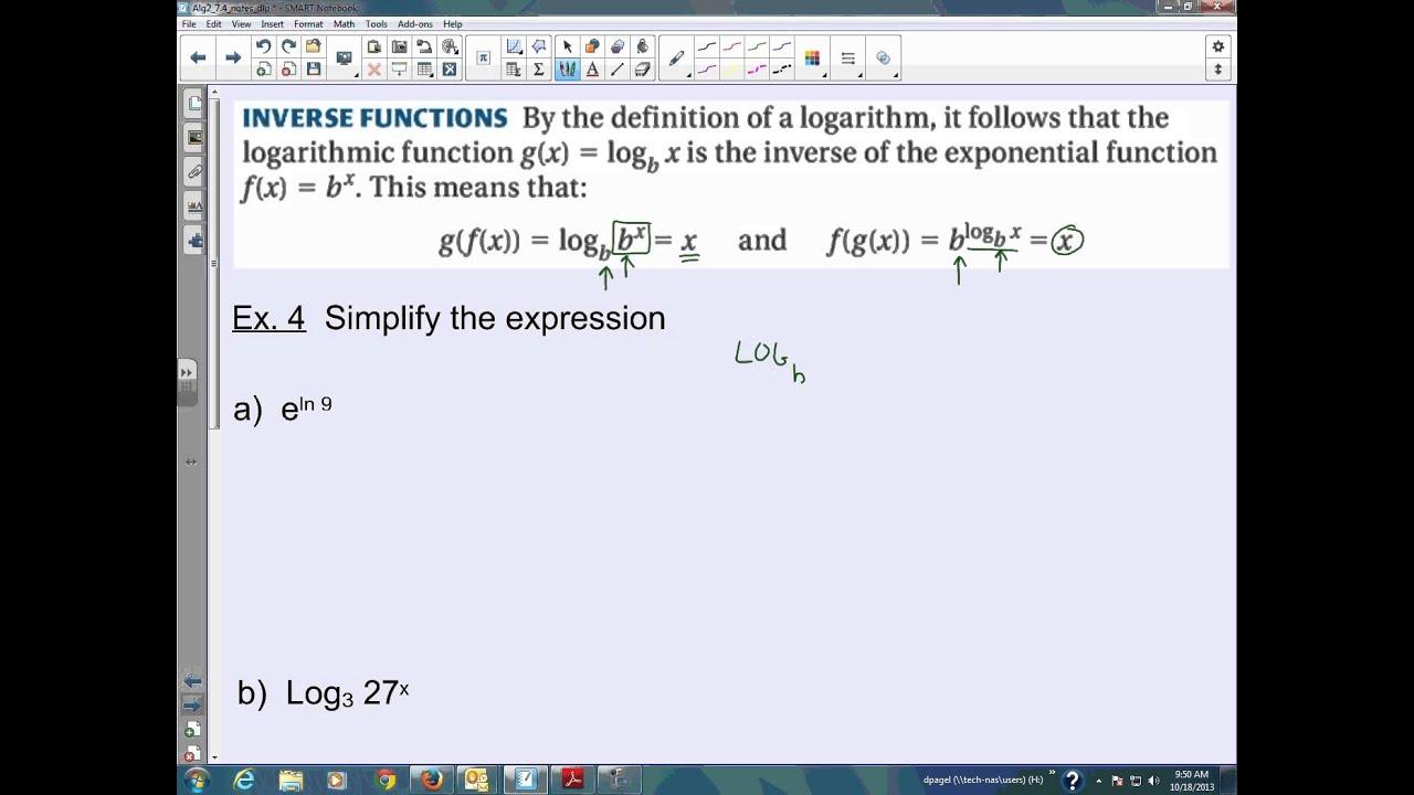 Algebra 2 Graphing Logarithmic Equations Answer Key