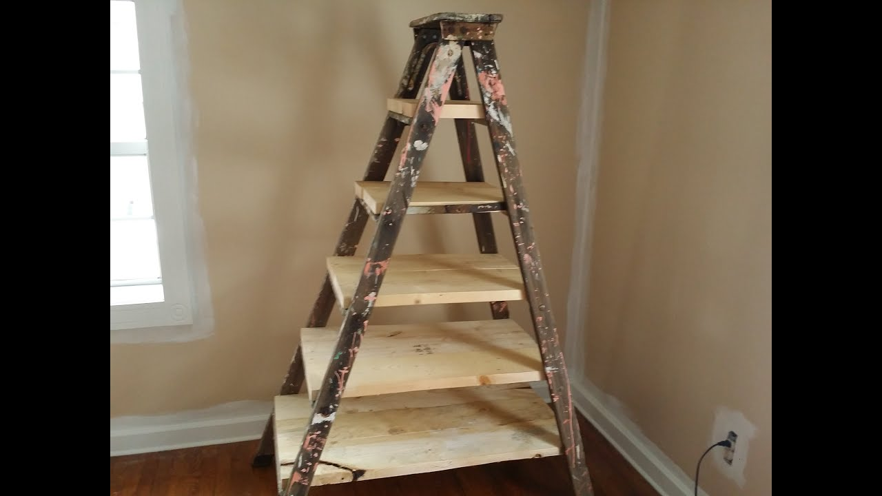 Ladder Converted Into A Bookshelf Youtube