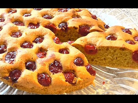 ПИРОГ С ВИШНЕЙ  Особенности рецепта БИСКВИТНОГО  пирога с вишней.