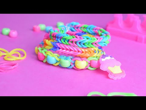 DIY - WIZARD OF LOOM - Friendship Rainbow Loom Fishtail Beaded Bands Bracelet - 3 Designs - Tutorial
