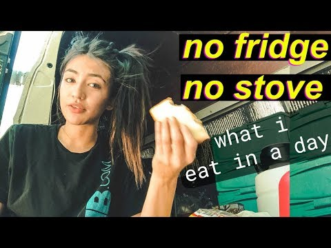 Van Life: What I Eat in A Day NO FRIDGE NO STOVE | Hobo Ahle