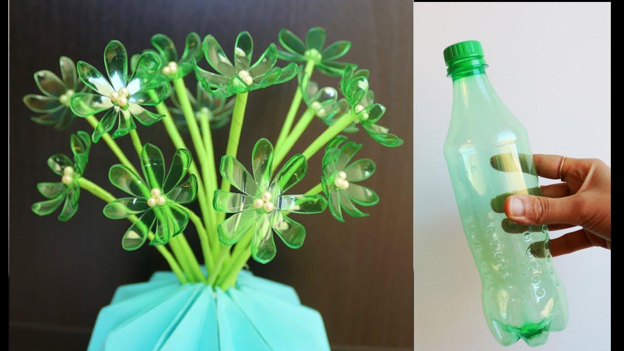 How To Make Very Easy and Beautiful Plastic Bottle Flower - Plastic Bottle Craft - Bottle Art