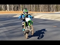 10 year old does max speed on a dirt bike. Kawasaki kx65 new!