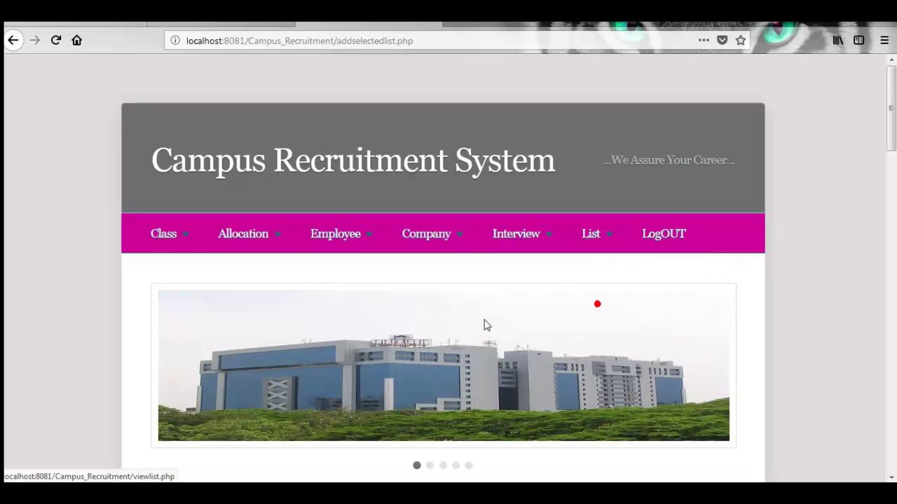 Campus Recruitment Management System | Student Projects