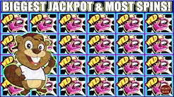 BIGGEST JACKPOT & MOST SPINS I EVER HIT ON DAM LUMBERJACK BEAVERS