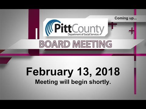 Pitt County DSS Board Meeting for 2/13/2018