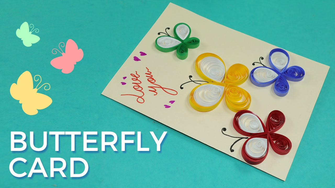 Paper Quilling Card Design Butterfly Greeting Pattern Simple