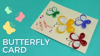 Paper Quilling Card Design: Butterfly Greeting Card Pattern, Simple and Easy Quilling