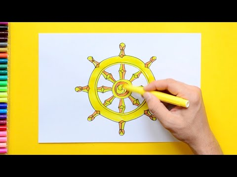 How to draw and color the Dharmachakra - Symbol of Buddhism