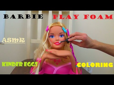 ASMR for Kids: Barbie Styling Head, Kinder Egg Surprise, Play foam, Colored Pencils