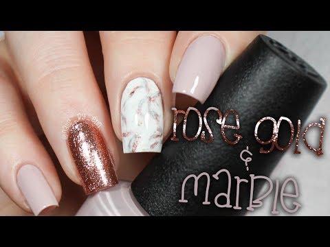 Rose Gold Marble Nails | NailsByErin