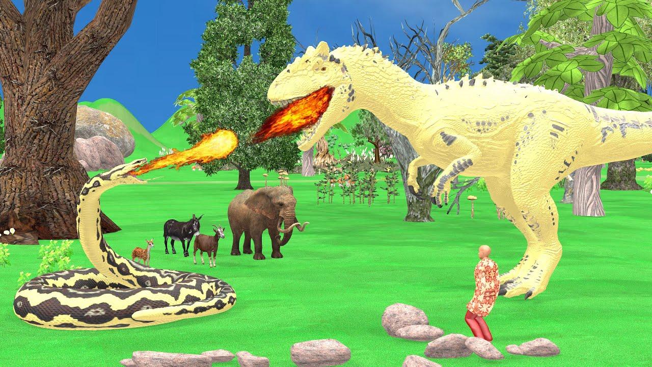 Big Snake and Dinosaur Fight Story | बैग स्नेक और डायनासौर फाइट स्टोर | Snake Moral Stories 2021 |