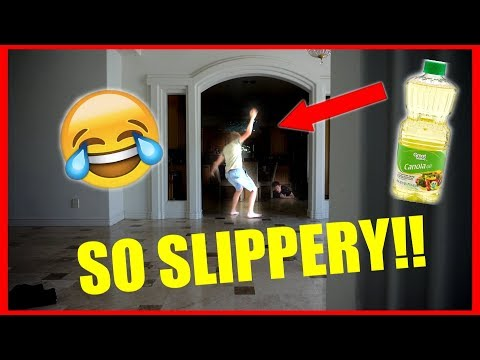 SLIPPERY OIL PRANK ON ROOMMATE!!!