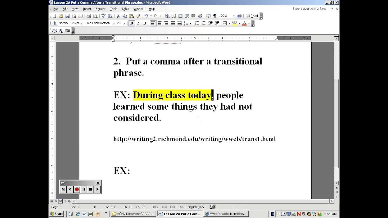 Lesson 2A Rule 2 Put A Comma After Transitional Phrases