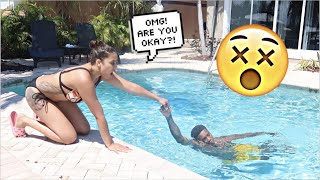 I DROWNED IN THE POOL IN FRONT OF MY GIRLFRIEND! *prank*