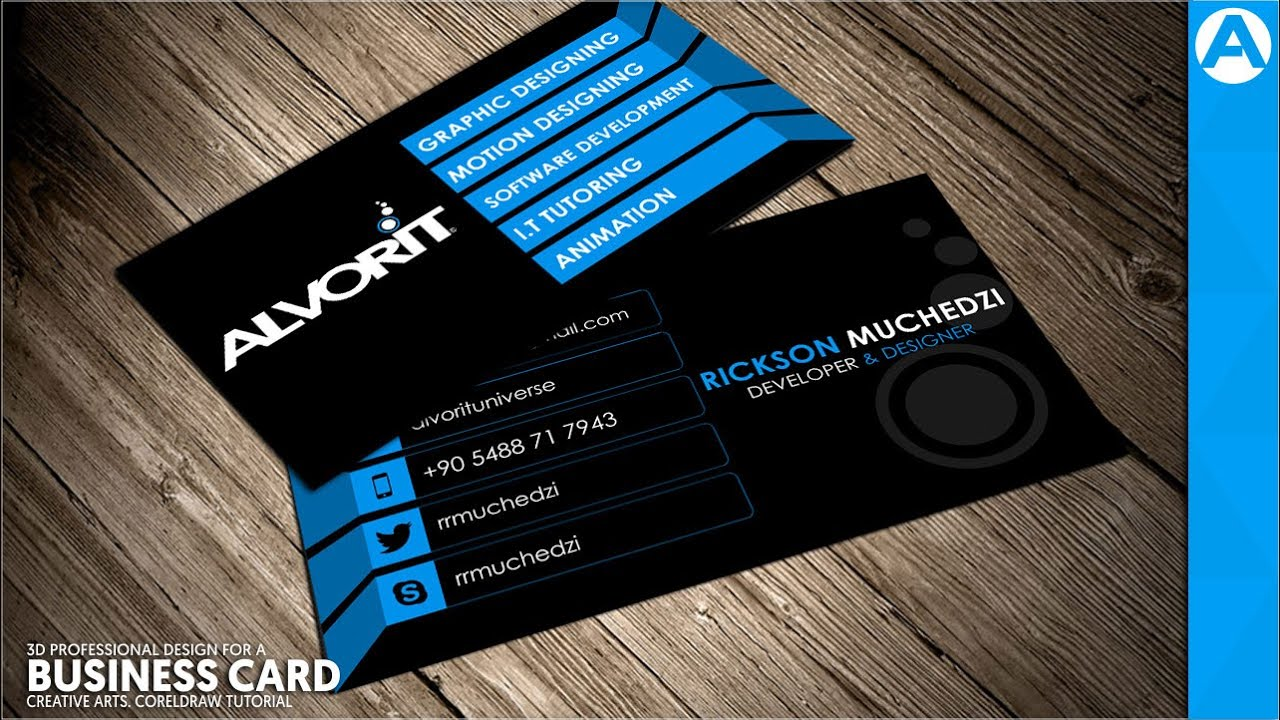 professional business card design blue 3d project in coreldraw creative arts youtube - Business Card Design Ideas