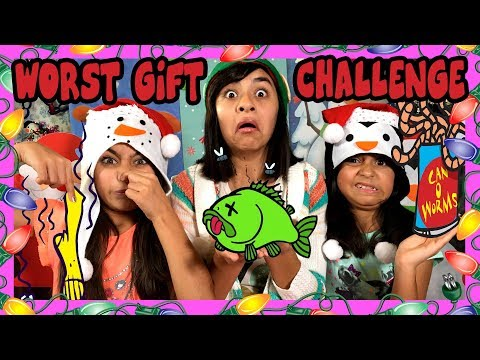 Worst Gift Challenge - Christmas Games Opening Presents : Challenges // GEM Sisters
