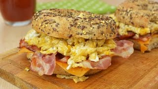Video Toasted Bagels with Bacon, Cheddar & Scrambled Eggs - Easy Breakfast Sandwiches Recipe download MP3, 3GP, MP4, WEBM, AVI, FLV Juni 2018