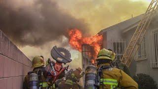 LAFD & LACo.FD Handle Apartment Fire