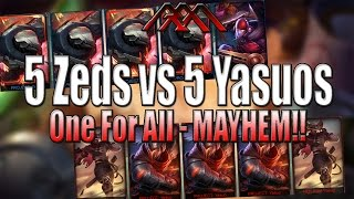 One of Redmercy's most viewed videos: 5 Zeds vs 5 Yasuos - One For All - League of Legends