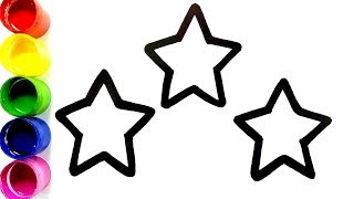 Glitter Stars coloring and drawing for Kids,Toddlers | Coloring Stars | Learn Colors | Colorsfun