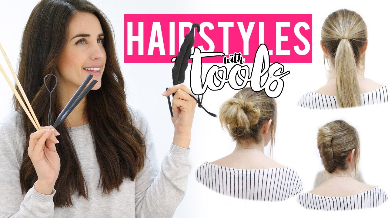 trying weird hair tools | 5 easy hairstyles tutorial