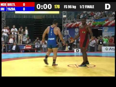 2011 World Wrestling Freestyle 96 kg - Reza Yazdani (Iran) v Bolti (Nigeria) Semifinals.wmv