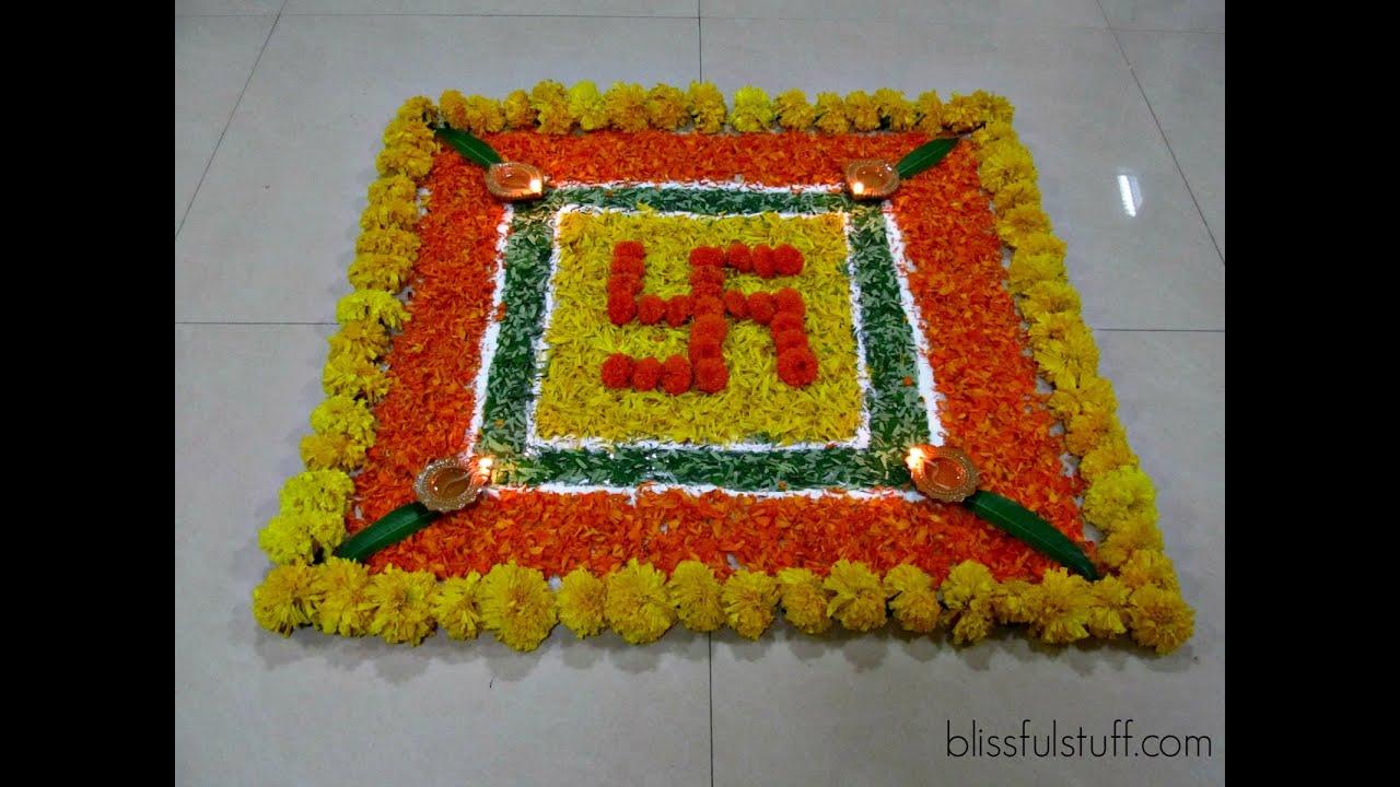 Diwali Special - Swastik Rangoli Design with marigold flowers, How ... for Flower Rangoli Designs For Diwali  45gtk