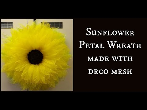 Sunflower Petal Wreath made with deco mesh  YouTube
