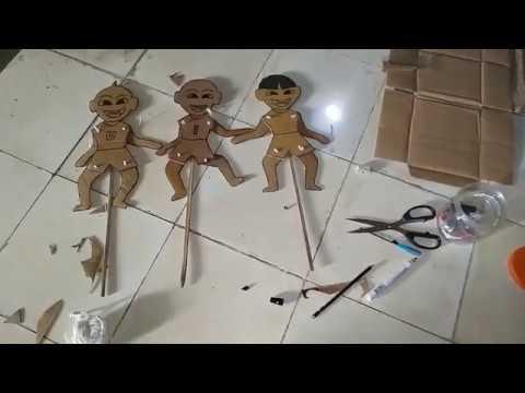 Upin Ipin Cara Membuat Wayang Dari Kardus Bekas Karton Mainan Lucu