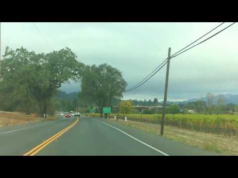 Downtown St Helena, CA Heading to Calistoga. Napa Valley, California.