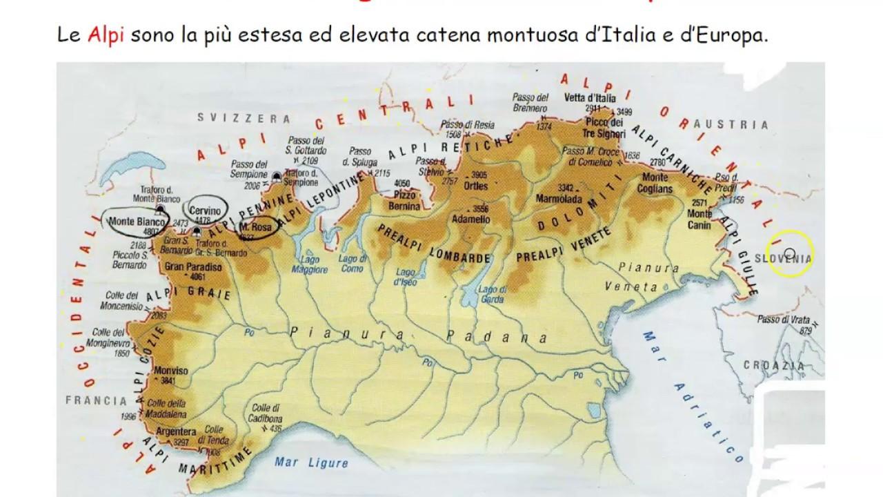 Cartina Dell Italia Alpi E Appennini.Geografia Alpi E Appennini Youtube