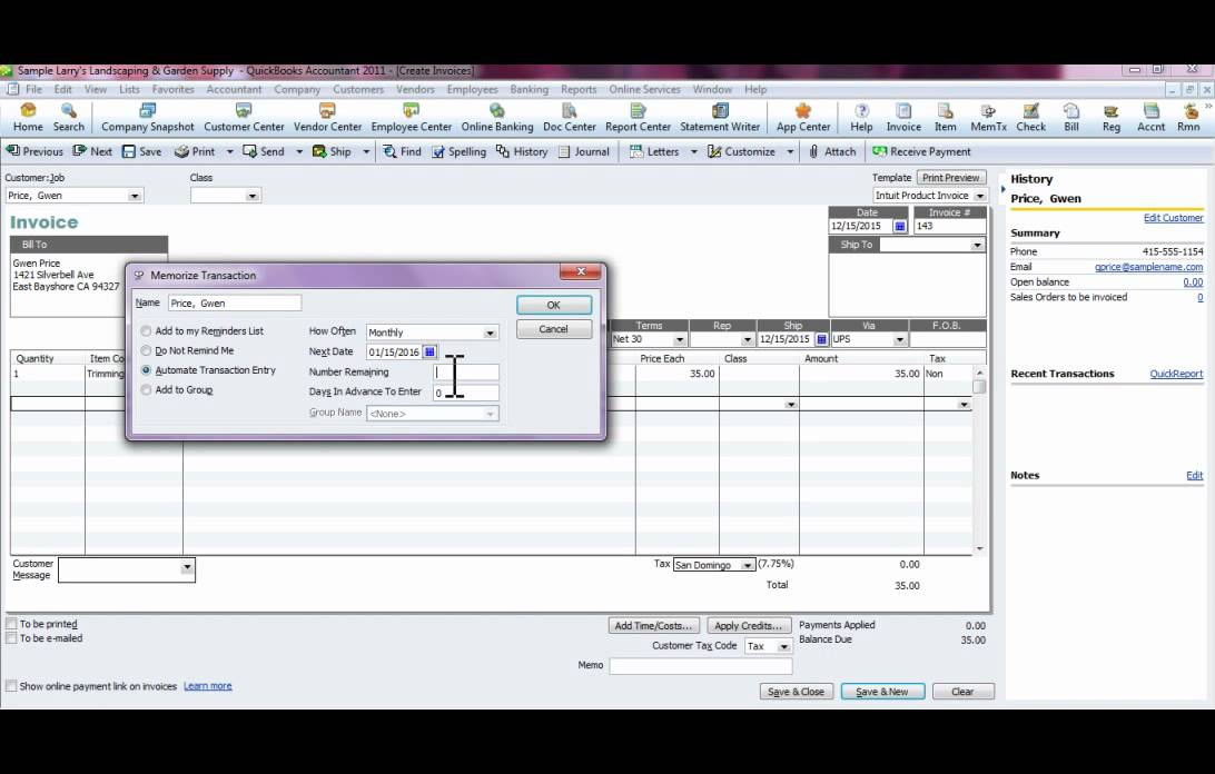 Memorized Or Reoccurring Invoicing In Quickbooks YouTube - Quickbooks recurring invoice