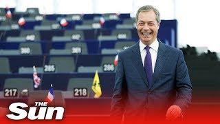 """I'm coming back""   Farage adresses EU Parliament"