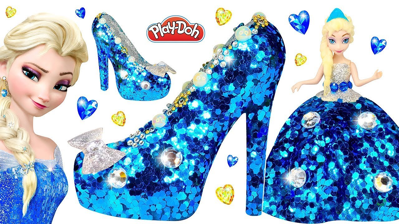 8c6da60bf89 Play Doh Super Sparkle Dress and Shoes High Heels with Glitter for Disney  Princess Frozen Elsa DIY