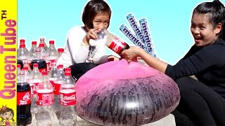 ระเบิดหรือไม่?! โค้ก+เมนทอส ในลูกโป่งยักษ์!!  Coke + Mentos Wubble Bubble?!! | QueenTubeTH ✔︎