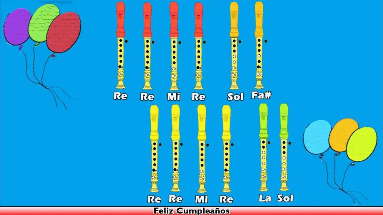 Feliz Cumpleanos En Flauta Dulce Con Notas Youtube