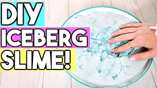 How To Make ICEBERG SLIME! DIY Easy, Giant Fluffy Slime!