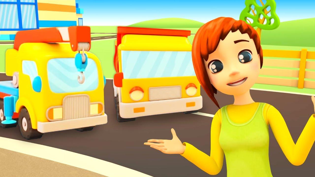 Tarefas do caminhão basculante! A escola de carros! Desenhos animados e histórias para crianças