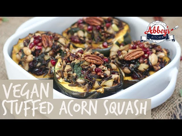 VEGAN Stuffed Acorn Squash with Wild Rice, Apples & Caramelized Onions | Gluten Free | Thanksgiving