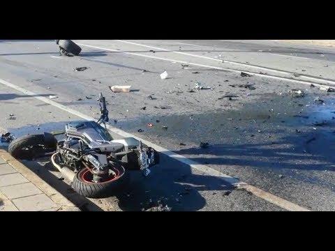 2 Cars 1 Grom - Motorbike Crash -