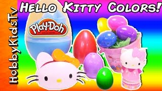 Hello Kitty SURPRISE Eggs LEARN Colors! Toy Review, Candy Puzzle HobbyKidsTV