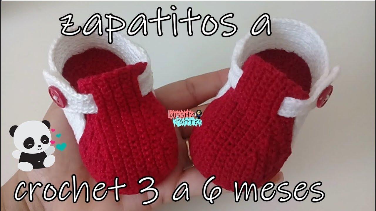 zapatitos tejidos a crochet modelo gabriel 3 a 6 meses by