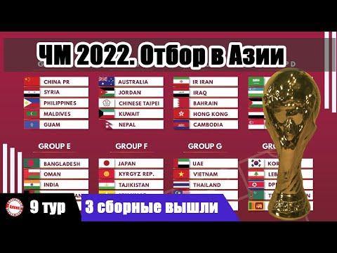 Чемпионат мира 2022. Отбор в Азии. 9 тур. Результаты. Расписание. Таблицы.