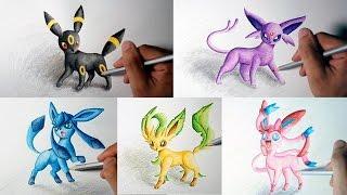 Eevee Evolution Drawing (Umbreon, Espeon, Sylveon, Leafeon, Glaceon) (Shin Art)